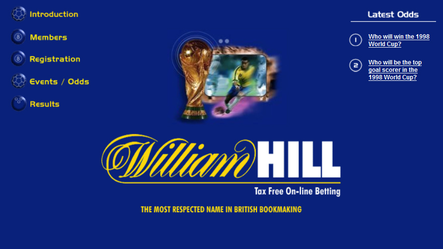 William Hill goes online with the launch of the betting service, Sportsbook.