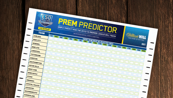 Look out for our Prem Predictor entry form in our betting shops