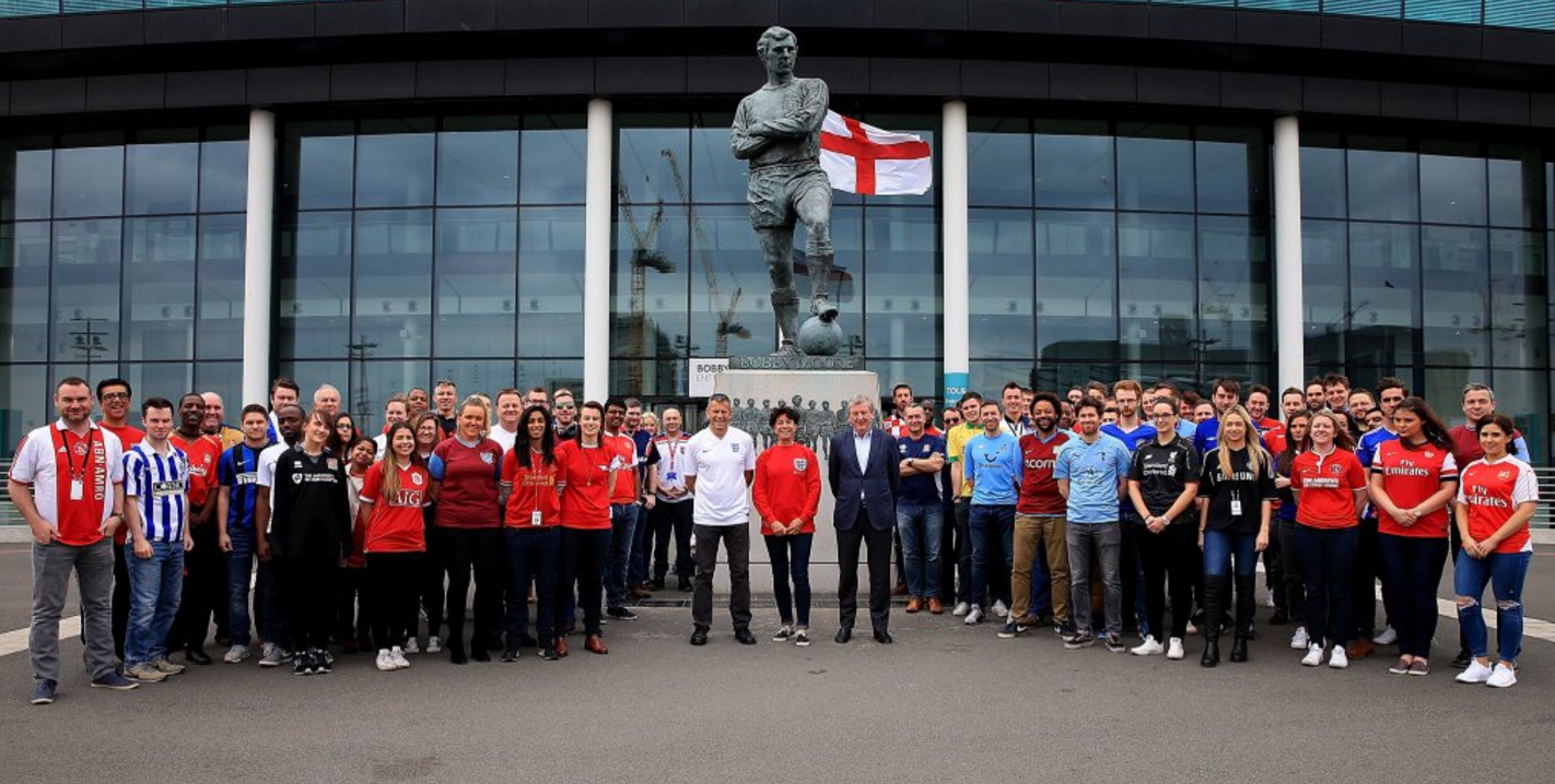 FA staff at Wembley Stadium show their support for #FootballShirtFriday, along with Stephanie Moore MBE.